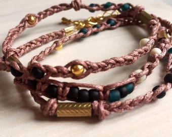 Brown Beaded Triple Wrap Bracelet
