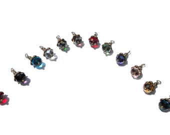 12PC. Birthstone Multi Faceted AB Austrian 8MM Crystal Bead Charms//Birthstone Bead Charms Adorned with Delicate Antique Bronze Tone Accents