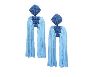 "La Jolla Blue Tiered Beaded Double Tassel Earrings; 4""; Big Statement yet light and easy on the ears!!"