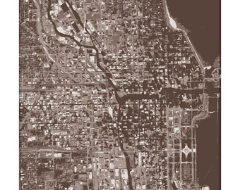 Chicago Cityscape Art Print / Chicago Map City Print / 8x10 / Choose your Color