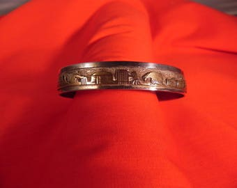 Vintage Story Teller Cuff by Navajo Jacob Kahe Hallmarked Sterling