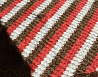 no. 41 Crocheted lap afghan in salmon browns and white