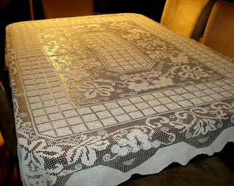 """Large Antique Elaborate Off White Handmade Filet Lace Tablecloth 63"""" X 78"""""""