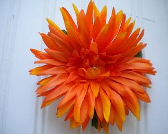 Orange Dahlia Hair Clip