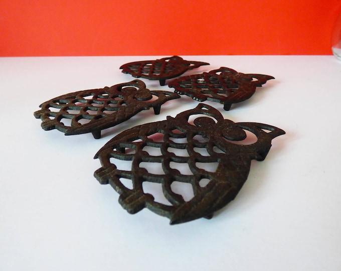 Owl coasters vintage 1970's metal