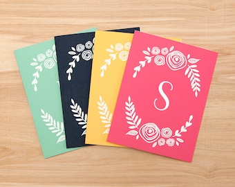 """Set of 8 – Personalized Custom Stationary Greeting Cards – 4.25"""" x 5.5"""" – 4 colors"""