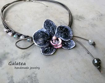 Black Orchid necklace Black Statement Orchid jewelry Black Flower Mixed media necklace Floral Black Art necklace Romantic gift for Wife