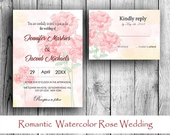 Wedding Invitation Set - Romantic  Watercolor Rose Invitation And RSVP Set PRINTABLE