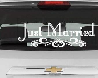 Just Married, Vinyl Window Decal, Vinyl Sticker, Window Sticker, Wedding Car Decor, Wedding Decoration, Reception Decoration,