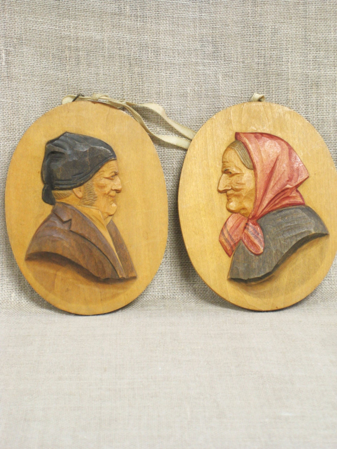 Antique Folk Art Carved Wooden Plaques Wall Decor Male