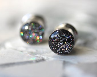"""Glitter Ear Plugs, Girly Gauges, Black Holographic Made to Order Ear Tunnels - sizes 4g, 2g, 0g, 00g, 7/16, 1/2, 9/16, 5/8, 3/4, 7/8, 1"""""""