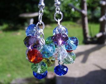 Multi Coloured Crystal Cluster Earrings . Cluster Earrings . Beaded Earrings . Crystal Earrings . Glass Beaded Earrings. Drop Earrings .