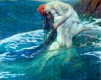 Amorous Embrace Of A MERMAID & Her Human LOVER. Stunning Mermaid PAINTING. Digital Mermaid Download. Sea Sprites Antique Art.
