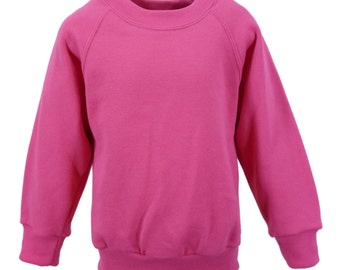 Fuchsia Sweatshirt, cotton/polyester, raglan sleeves, soft brushed inside for warmth and comfort.   Made in England.  6 childs sizes. W10
