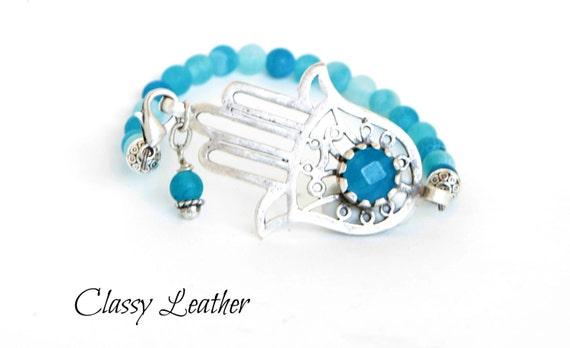 Boho bracelet, Bohemian Jewelry,Hand of Fatima bracelet, Aqua Blue Jade Stone, Zamak bracelet,Beaded bracelet, Light Blue Frosted Agate