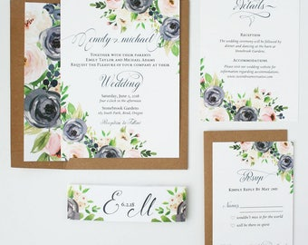 Rustic Spring Wedding Invitations - Navy & Blush - Wedding Invitations - Navy and Blush Blooms Collection Deposit