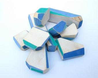 Wood Balancing Block Game, Handmade, Blues