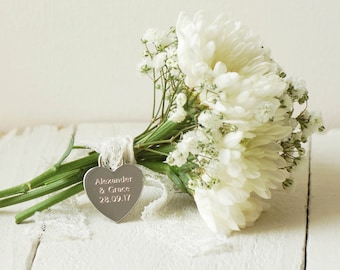 Engraved Wedding Bouquet Charm, Plain Font ~ Engraved Wedding, Anniversary Gift