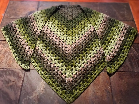 Handmade Boho Hippie Green and Grays Crochet Triangle Granny Stitch Scarf Shawl - Ready to Ship!