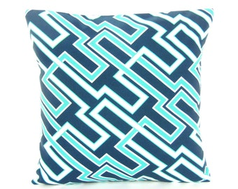 Outdoor Pillow Geometric Navy Aqua Throw Pillow COVER Decorative Cushions Couch Sofa Pillow Beach Pillow Navy White Outdoor Cottage Patio