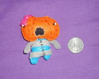 Pumpkin Head Zombie Felt Miniature Doll