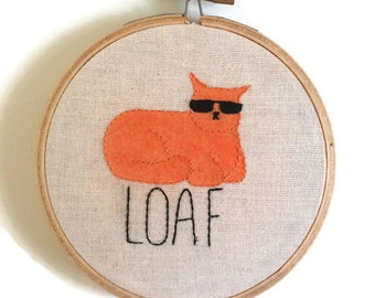 Loaf cat embroidery, cat embroidery, embroidered hoop art, embroidery wall art