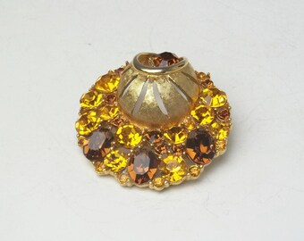 Topaz Golden Rhinestone Round Unique Vintage Brooch Unsigned Beauty Hollywood Glamour 1950's Costume Jewelry Pin Gift For Her on Etsy