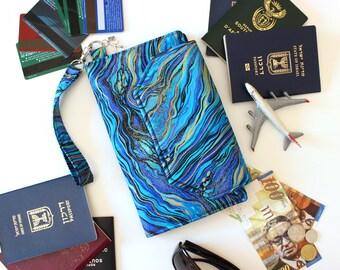 Family Passport Holder - Family Travel Wallet - Fabric Passport Wallet for women - Travel Document Holder - multiple passport holder - blue