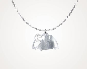 I Camp .925 Silver Necklace - Camping Silver Necklace - Loves Camping Necklace - Gift Necklace - Gift Idea