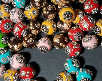 Handmade Indonesia Beads, with Brass Core, Round, Mixed Color, Size: about 14mm x 13mm, hole 2mm    106
