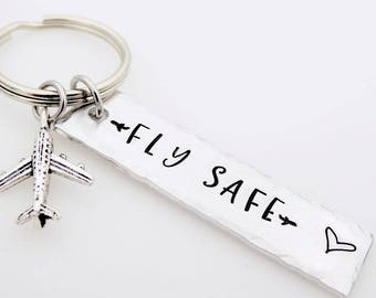 Pilot keychain, Fly safe, gift for flight attendant,loved one who travels often, airplane jet traveler gift for flight staff airline worker