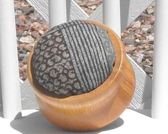Pincushion Wooden Base Non Slip Ring Handmade Blue Gray Brown