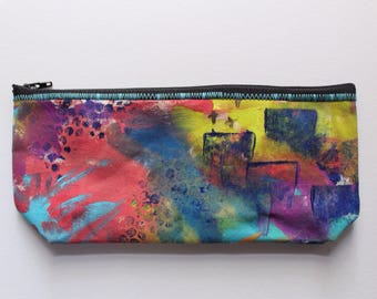 Canvas Zip Pouch - hand painted pencil make up bag ZPG07