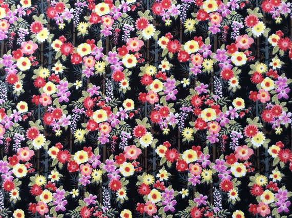 High quality cotton poplin, Japanese print on black