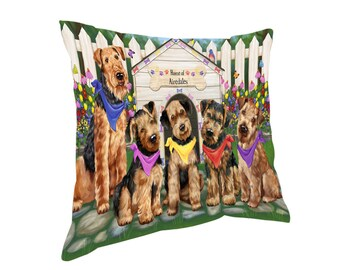 Spring Dog House Airedale Terriers Dog Throw Pillow