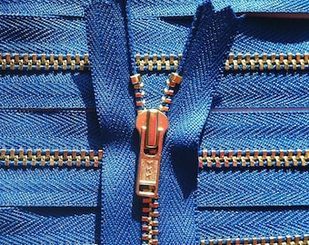 Brass Zippers- 8 inch closed bottom ykk metal teeth zips- (5) pieces - Royal Blue 918