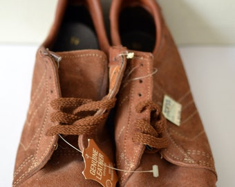 Vtg. DEADSTOCK NoS STYLECRAFT Brown Suede Trainers Sneakers Tennis Shoes Size 7.5 8 GAT Style Margelia