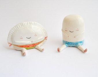 Set de Dos Figuras de Croqueta y Empanadilla de Ana Oncina, Especial Verano. Listo Para Enviar
