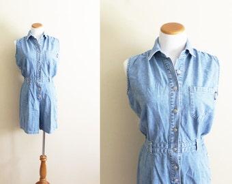 vintage romper denim jean jumpsuit summer 1990s womens clothing minimalist sleeveless size medium m 12