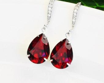 Red Crystal Earrings Silver Red Bridal Earrings Swarovski Teardrop Earrings Bridesmaids Jewelry Wedding Earrings Bridal Jewelry