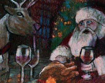 original art  aceo drawing red Santa reindeer turkey dinner wine humor