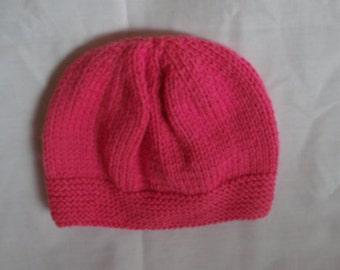 Handmade Hand Knitted Baby Child Girl's Pink Hat