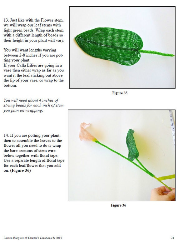 PDF Pattern French Beaded Calla Lily Flower DIY beading