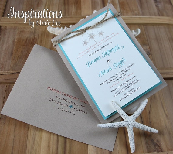 Etsy Beach Wedding Invitations: Items Similar To Rustic Beach Wedding Invitations, Beach
