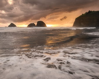 Stormy Oregon Coast Sunset from Oceanside |  Pacific Northwest Photography | Print | Metal, Canvas, or Lustre