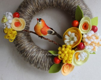 "Spring Bird Wreath - Brown Yellow Orange -- 8"""