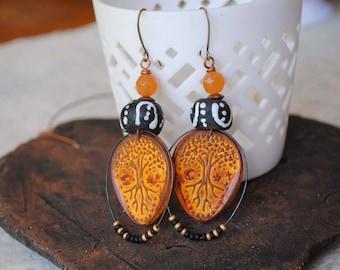 Halloween Earrings, Tree Earrings, Ethnic Earrings, Large Orange Earrings, Polymer Clay Earrings, Teardrop Earrings, Mystical Celestial
