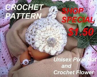 CROCHET HAT PATTERN - Unisex Pixie Hat, Baby Patterns - Photo Prop Hat- 3 sizes fits Newborn to 12 Months - Shop Special - #734