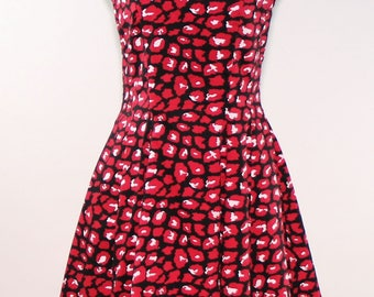 Fit and Flare Glamorous Vibrant Animal Print Dress - Size 8 (One of a Kind Designer Dress)