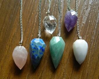 Wholesale Pendulum Necklace Lot, Dowsing Pendulum, Chakra Pendulum, Multi Gemstone Drop Shape Pendulum, Chakra Jewelry, Healing Necklace